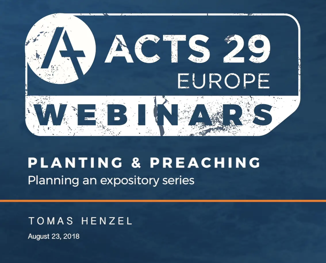 WEBINAR | Planting & Preaching 2 – Tomas Henzel